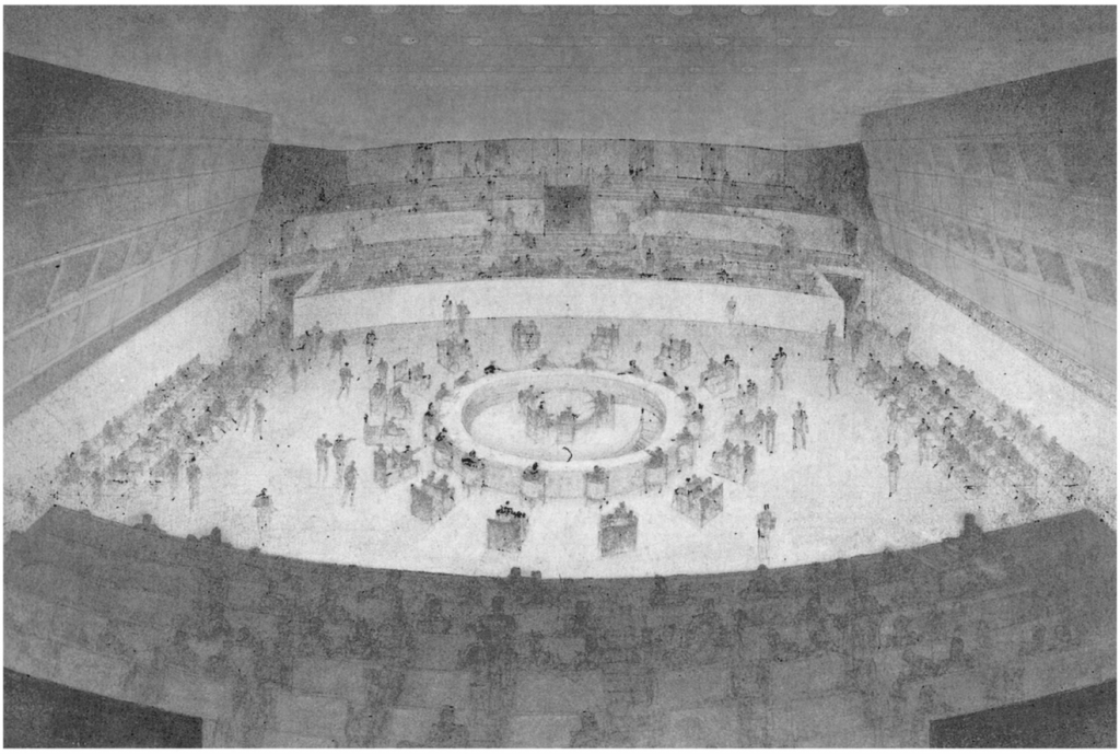 A drawing of the UN Security Council chamber.